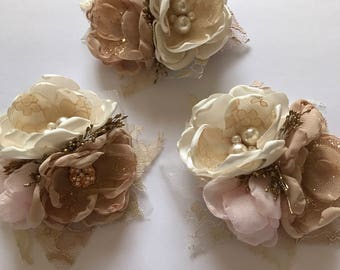 Corsage Pin - Pale Pink, Champagne, Cream and Gold - Fabric Wedding Flowers, Fabric Corsage, Flower Pin, Mother's Corsage, Grandma