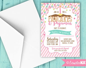 Pancakes & Pajamas Birthday Party invitation - Pink, Gold glitter dots - Girls Slumber Party invite - Personalized Printable Digital File