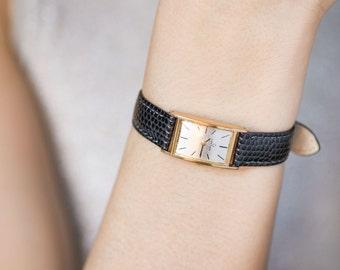 Certina sleek woman's watch, gold plated AU 20 lady watch, shockproof woman watch, retro timepiece rectangular, new luxury leather strap