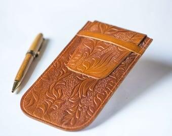 Tooled leather pencil case unused, vintage tan leather purse, pencil case caramel shade, genuine leather case boho, flora pattern case flat