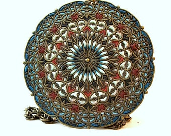 Medallion pendant/filigree/ mandala jewelry/ aqua pendant/ brass jewelry/ big pendant/huge medallion/ unique jewelry/ teal and brown/