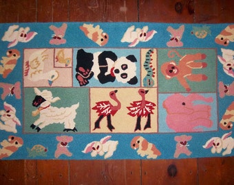 Antique Hooked Rug Animals Nursery Baby Child Room Playroom Lamb Bunny Ostrich Panda & More