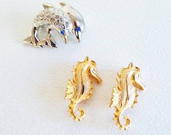 Vintage Midcentury Jewelry Gold Silver Pins Seahorse Dolphin Jewelry Pins Sealife Jewelry Marquisite Jewelry Pins Coat Scarf Pins Aquatic