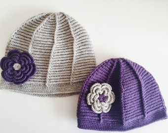 Crocheted Mommy and Me Beanie Hat Set with Flower, Usa Seller