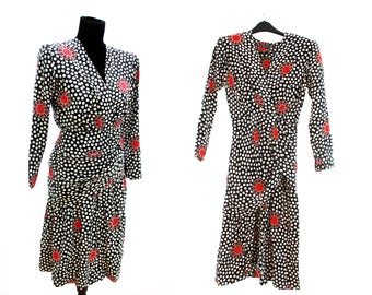 Givenchy. Reproduced by Daimaru. Polka Dot Asymmetrical Ruched Dress. 100% Silk. 1980's. Vintage. Nouvelle Boutique. Made in Japan.