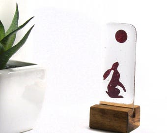 Fused Glass Hare, Moon and Hare, In Stand, Copper, Gift, Hare, moon gazing, March hare, Gazing hare