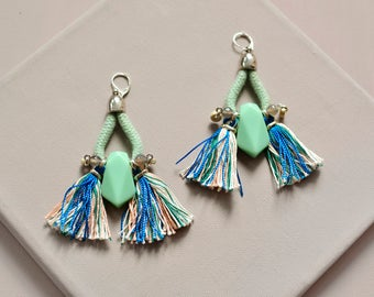 OOAK Tassel Earrings, Bohemian Earrings, Fan Earrings, Tribal Earrings, Pastel Earrings, Mint Green, One of a kind