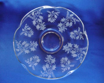"""Tiffin fuchsia etched glass footed float bowl scalloped edge spectacular 12"""""""