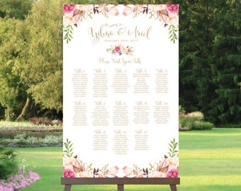 Wedding Seating Chart | By Table | Various Sizes | Bella | Antique Gold | Floral Options | I Create and You Print