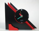 Rare Vintage Post Modern Memphis Era Black & Red Geometric Clock 1980s - Unknown Maker