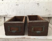 Antique Drawers Storage Box set of two Industrial Storage Industrial Box