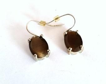Smoky Topaz Earrings, Vintage Stone Dangles