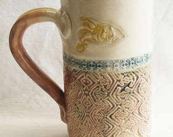 ceramic seaside coffee mug 20oz  stoneware 20D033