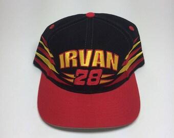 Vintage Logo Athletic Needle Dale Irvan Nascar snapback hat with Halvoline