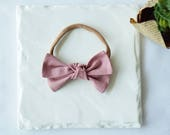 Knotted Linen Bow -Mauve- Headband Nylon Skinny Headband or Hair Clip