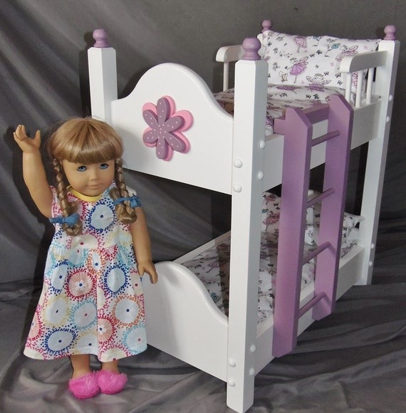 "Doll Bunkbed fits American girl doll and 18"" dolls with new Dancing Fairy bedding and ladder included"