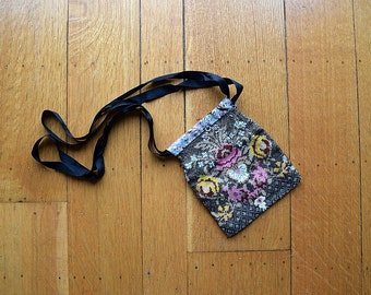 1920s beaded bag . vintage 20s floral beaded purse