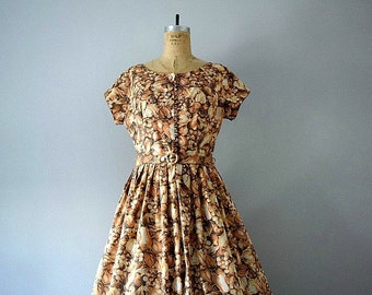 Vintage 1950s fruit print dress . 50s novelty print dress