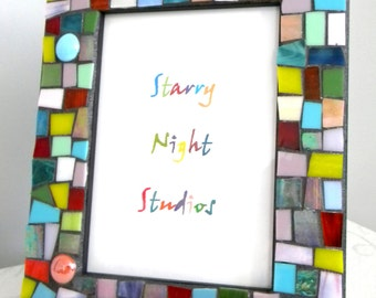 Multi-Color Stained Glass MOSAIC Frame