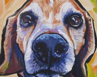 "BEAGLE dog art portrait print of pop art painting bright colors 12x12"""