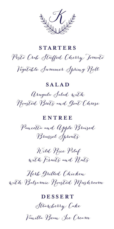 Wedding Dinner Menu Template Eliolera