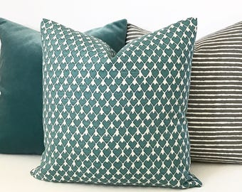 Double sided, Dark teal and cream heart arrow ikat geometric decorative pillow cover, accent pillow, throw pillow