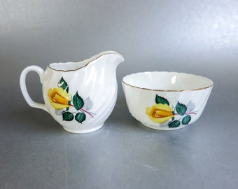 Adderley Sugar and Creamer with Yellow Roses - Made in England - Nature Theme - Gift for Her - Gift for Mother, Grandmother, Aunt, Sister