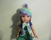 "hat with pompom and scarf set blue purple lime white multicolor Hand-crocheted to fit 14.5"" Wellie Wishers Dolls"