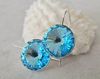 Aquamarine Earrings, Blue Swarovski Crystal Earrings,Sterling Silver Handmade Jewelry, Wedding Earrings, Birthstone Jewelry
