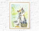 Grey Cat Watercolour Painting, Aceo Original, Fish Supper