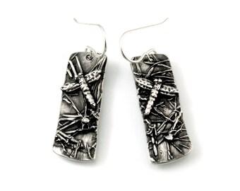 Sterling Silver Earrings, Dangling Earrings, Dragonfly Earrings, Dragonfly Jewelry, Silver Dragonfly, Silver Dragonflies, Dragonflies, 1240b