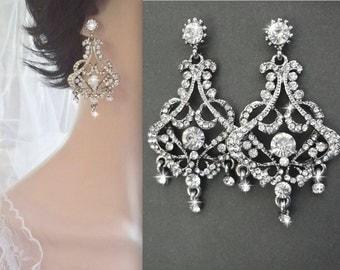 Crystal earrings ~ Brides earrings ~ Wedding earrings ~ Vintage style, Statement earrings ~ Art deco earrings ~ STUNNING ~ EVA