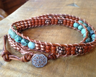 Copper Turquoise Double Leather Wrap Bracelet