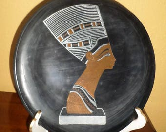 Nefertiti/EGYPTIAN TRAY/COPPER/Inlaid Metals/Ready to Hang