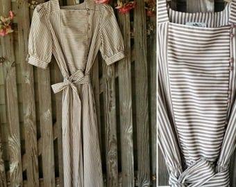 "Retro Taupe + White Light  Dress - Vintage Preppy Dress, Knee Length Lightweight Dress, ""Salz"" Size 10, Trending Fashion, Spring + Summer"