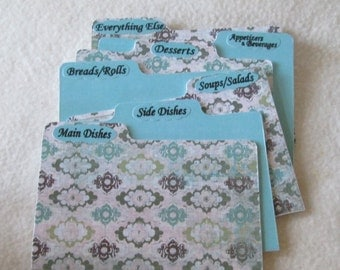 Recipe Box Dividers - Recipe Organizers -  Index Cards -  4X6 or 5X7 Recipe Box Dividers, Shower Gift