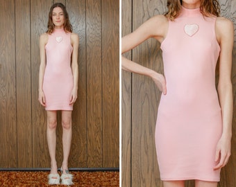 Candy Flip - 90s Style Baby Pastel Pink Sleeveless Mock Turtleneck Goth Gothic Kawaii Heart Love Sparkle Glitter Knee Length Dress S M