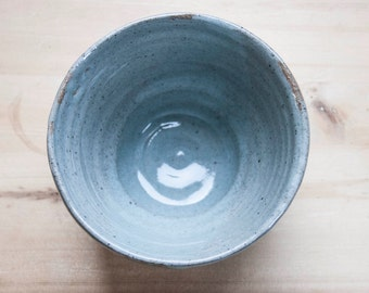 Small, Hand Thrown, Stoneware, Bowl, Speckled Pottery, Blueish Grey, Foodie Gift