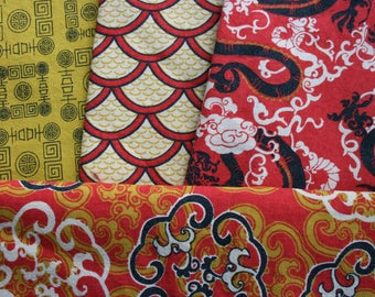 Bundle of Asian Inspired Cotton Fabrics, Fat Quarters, Pre-Washed