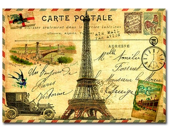 Vintage French travel postcard with Eiffel Tower art print