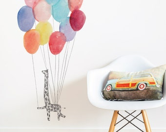 Giraffe On Balloons Removable Wall Sticker | LSB0260CLR-JMS