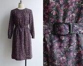 15% V-DAY WEEK Sale - Vintage 80's Pink Petals Floral Print Dress & Belt S or M