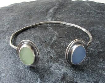 Sea Glass Cuff Bracelet Cornflower Blue and UV lime Beach Glass Jewelry