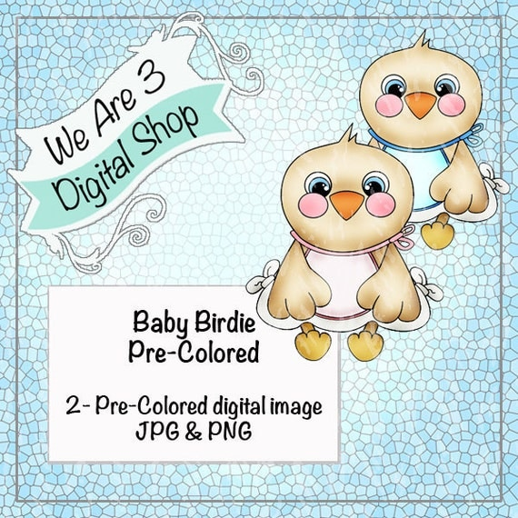 We Are 3, Baby Birdie Girl and Boy Pre-Colored Printable, Digital Image