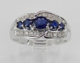Diamond and Sapphire Wedding Ring Anniversary Band 14K White Gold Size 6.5 Something Blue