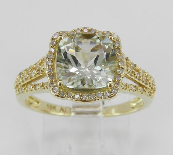 Diamond and Green Amethyst Halo Engagement Ring Yellow Gold Size 7 Cushion Cut
