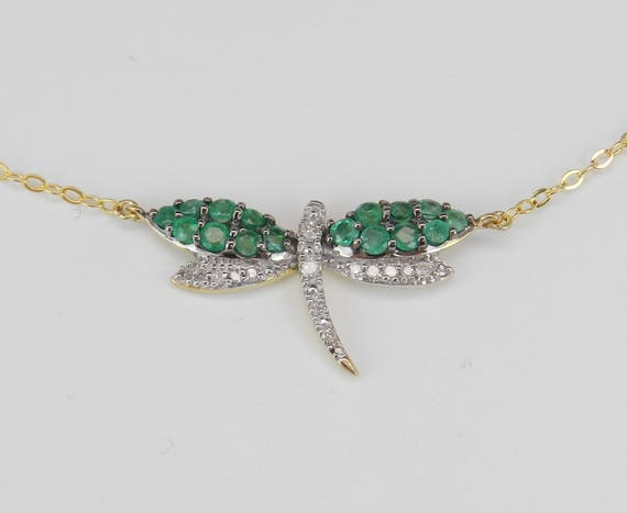 "Diamond and Emerald Dragonfly Pendant Necklace Yellow Gold 17"" Chain July Birthstone"