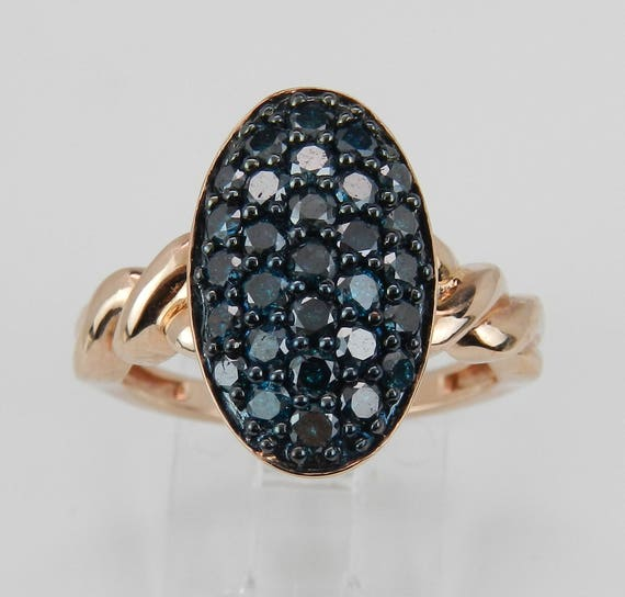 1.00 ct Fancy Blue Diamond Cluster Cocktail Dome Ring Band Rose Gold Size 7