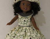 Owl dress with matching hat for Wellie Wishers or Hearts 4 Hearts doll