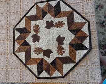 Brown Leaves  table quilt, Fall little quilt 0330-01